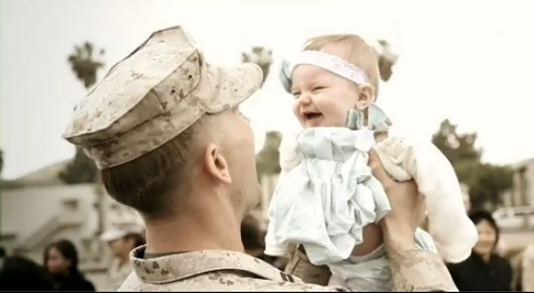 Military Dad and Baby