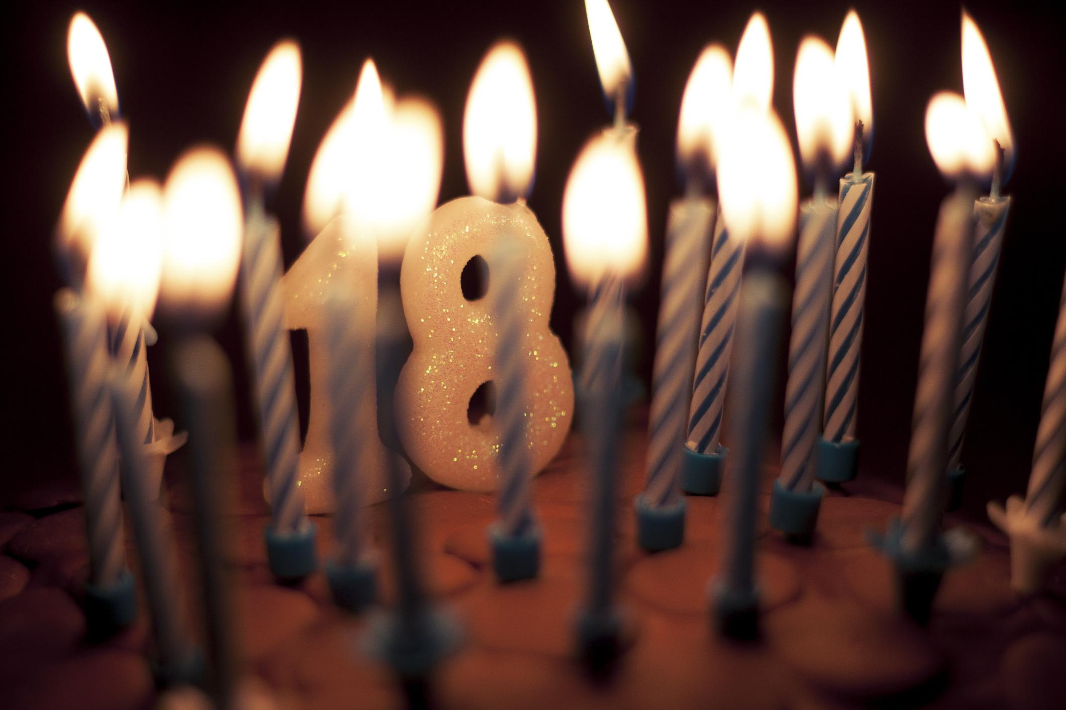 18 candles birthday cake