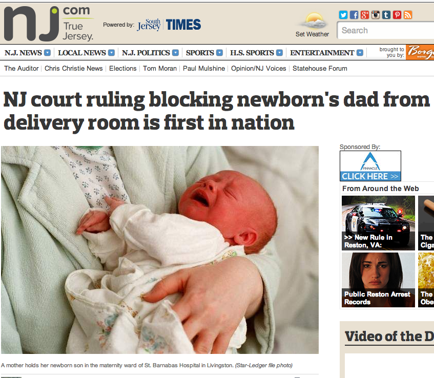 nj court ruling blocking newborn's dad from delivery room